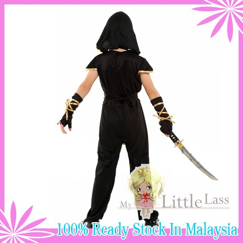Kids Halloween Ninja Boy Black Cosplay Costume 4-8y