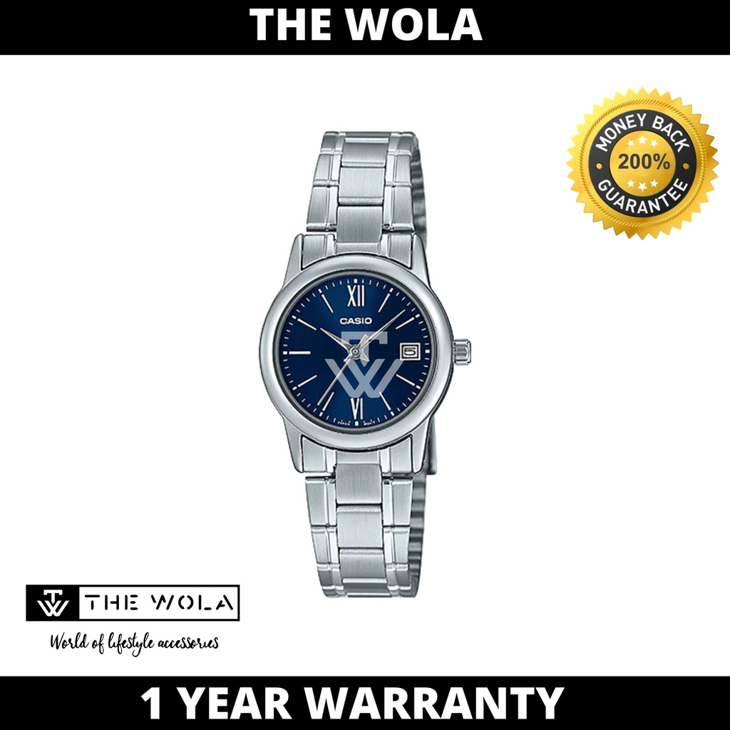 Casio Women's Analog LTP-V002D-2B3 Silver Stainless Steel Watch