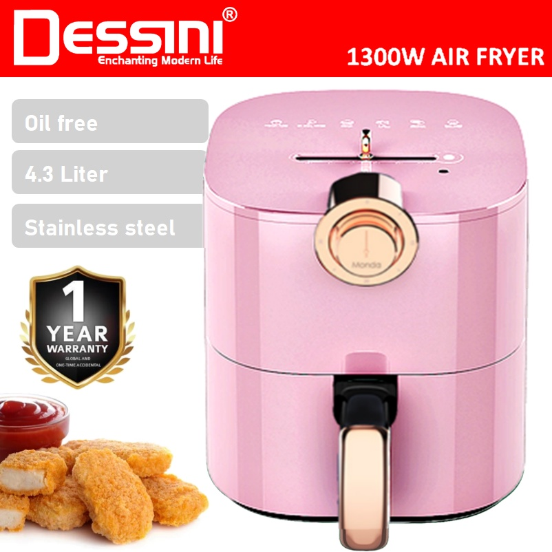 【ORIGINAL】 DESSINI ITALY 4.3L Electric Air Fryer Timer Oven Cooker Non-Stick Fry Roast Grill Bake Machine