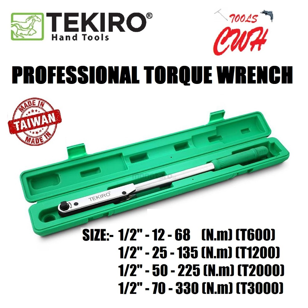 "TEKIRO TQ-PF0329/30/31/32 1/2"" DR. PROFESSIONAL TORQUE WRENCH TEKIRO MADE IN TAIWAN PROFESSIONAL TORQUE WRENCH"