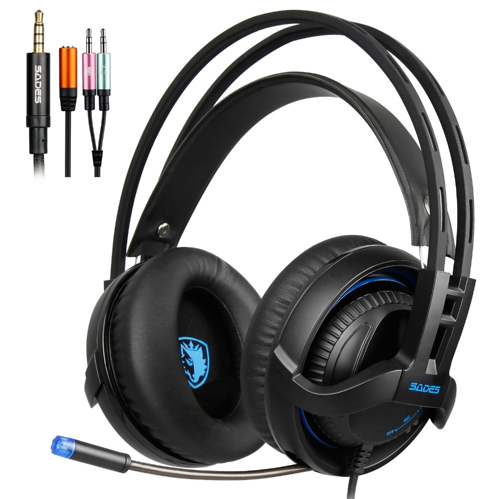 with Microphone for PS4 Xbox 360 PC Mac iPhone Smartphone SADES SA-920 Stereo Gaming Over-Ear Headphone Headset PS4 Headset Blue 1 Year Warranty