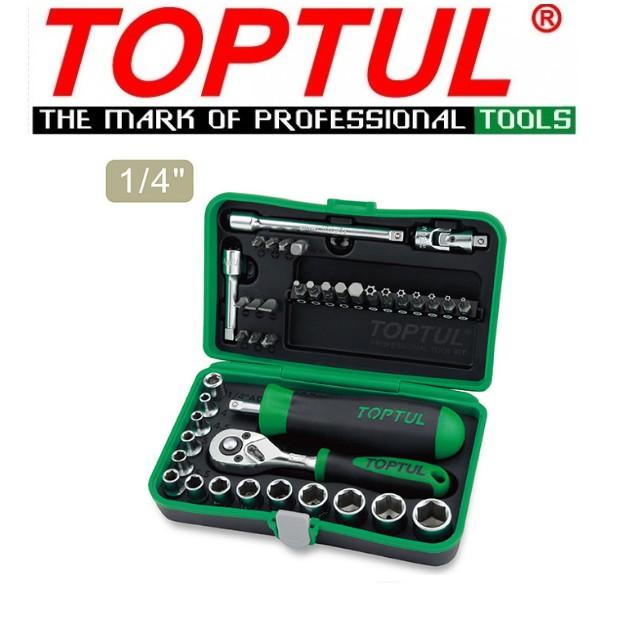 "Toptul 41pcs Professional Grade 1/4"" DR. 6PT Flank Socket Set GADW4101"