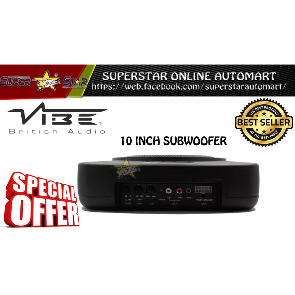 "VBSA-1122 VIBE 10"" UNDER SEAT ACTIVE SUBWOOFER"