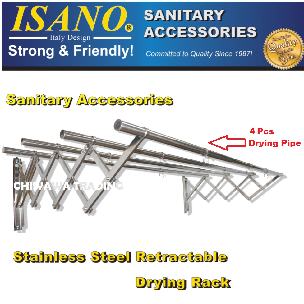 ISANO 1446DR 2.0 Meter Premium 4 Rods Stainless Steel Retractable Clothes Drying Cloth Rack NOT RUSTY Rak Penyidai Baju