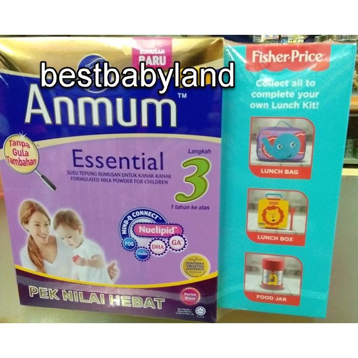 Anmum Essential Step 3 Milk (1-3 Yr) 1.2KG - 2U Plain Free 1 Lunch Kit Cut Cover