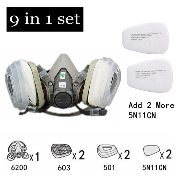 3 in 1 Dust Mask 3M Half face Respirator Spray Painting For 6200 2901 Filters | Shopee Malaysia