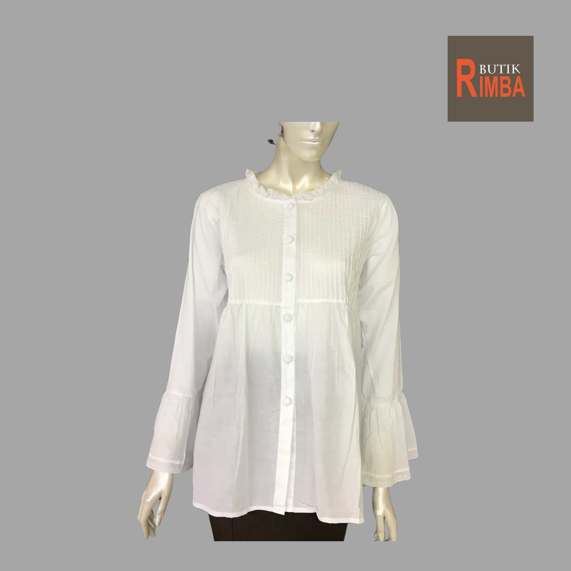 WOMEN CASUAL AND COMFORTABLE WHITE BLOUSE COTTON FREE SIZE PATTERN 10