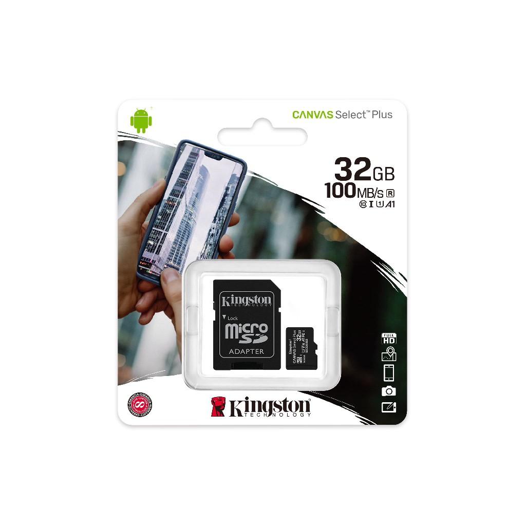 Original Genuine Kingston Micro SD Card 256GB /128GB / 64GB / 32GB Memory Card 100MB/s Canvas Select Plus Class 10