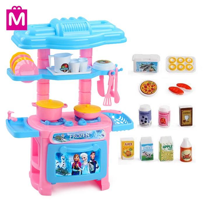 Mitoyos Kids Frozen Pretend Play Chef Mini Kitchen Cooking Stove Masak Toy  Set