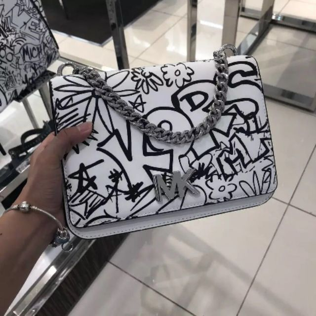 689773f80a6c (Pre-order)Authentic♚MICHAEL KORS Mott Large Graffiti Leather Crossbody |  Shopee Malaysia