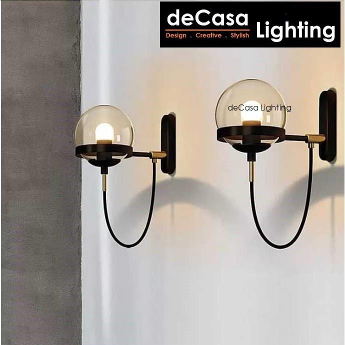 DECASA LIGHTING Modern Glass Wall Light Indoor Decorative Wall Lamp Ikea Style Bedroom Bedside Lighting (0409)