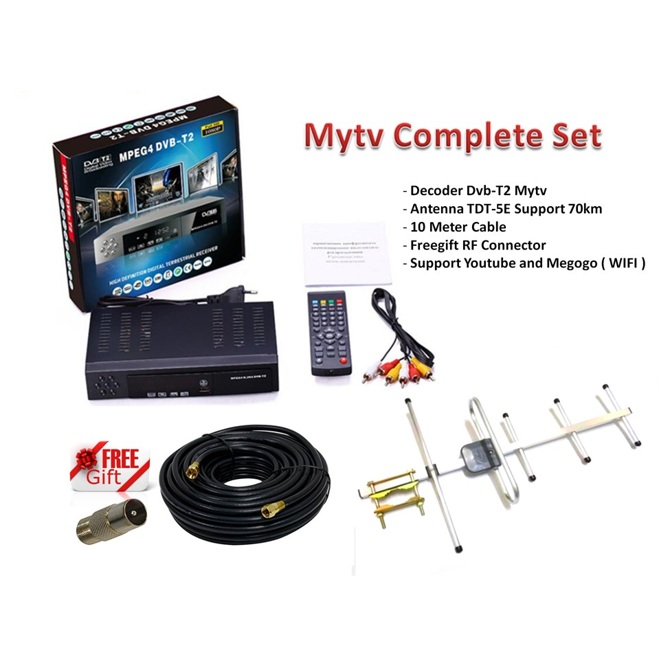 Mytv Full Complete Set (Decoder + Antenna TDT-5E + Cable) Support Wifi +  Youtube