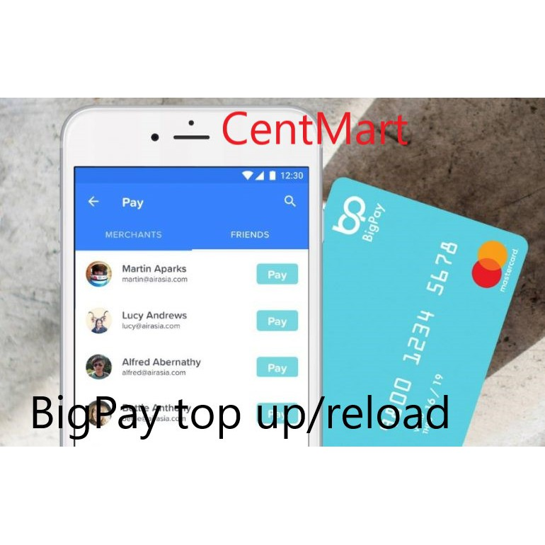 BigPay ewallet Reload / Topup / Top up - 2% service charge (e g you pay  RM10, I'll top up RM9 80)