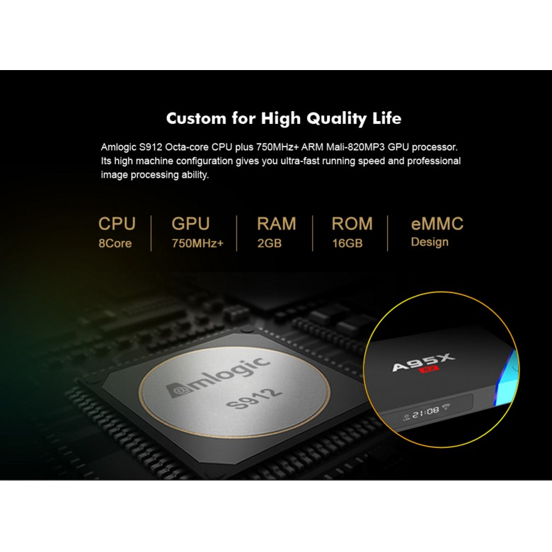 A95X A2 Amlogic S912 Octa Core Android 6 0 TV Box 2G/16G
