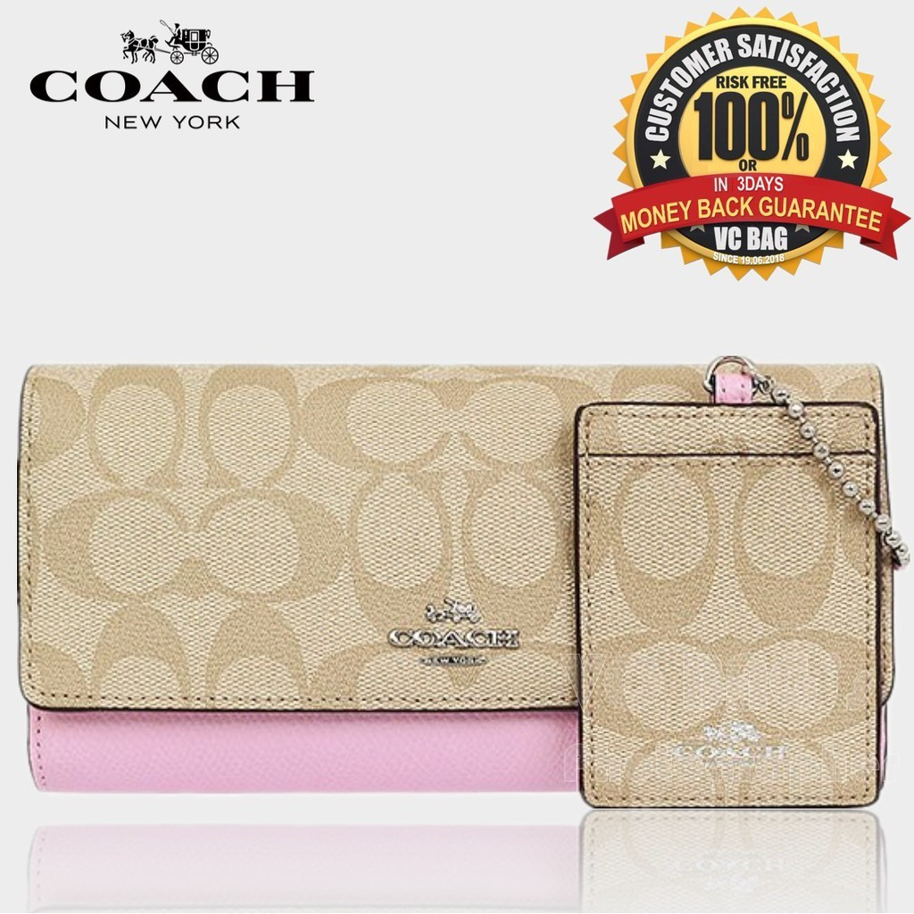 huge discount 5cd5f f4ea4 COACH F53763 Trifold Wallet in Signature Coated Canvas[Silver/Light  Khaki/Petal]