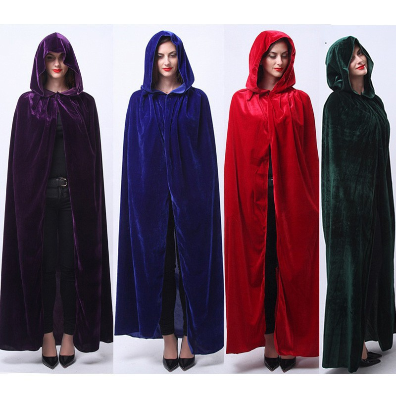Adult Halloween Masque Witch Long Cloaks Hood Cape Gothic Costumes for Women  Men  a8d9ffb3cbbf