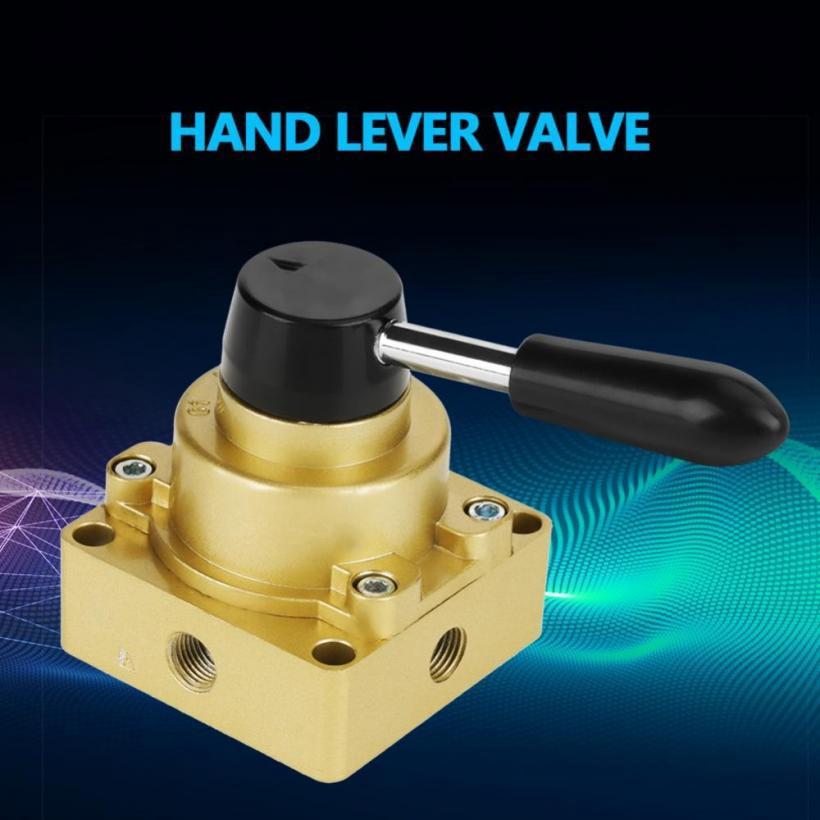 G1//4 Thread 3 Position 4 Way Durable Aluminium Alloy Pneumatic Air Manual Valve Pneumatic Hand Lever Valve