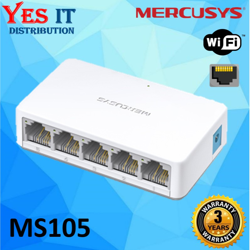 Mercusys MS105 5-Port 10/100Mbps Desktop Network Ethernet LAN Switch  (Powered by TP-Link)