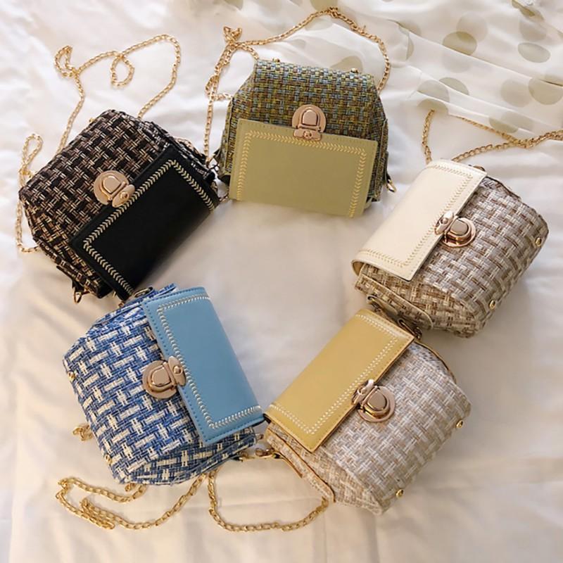 INFINITE Women PU Leather Color Matching Versatile Chic Chain Messenger Simple Retro Shoulder Bag
