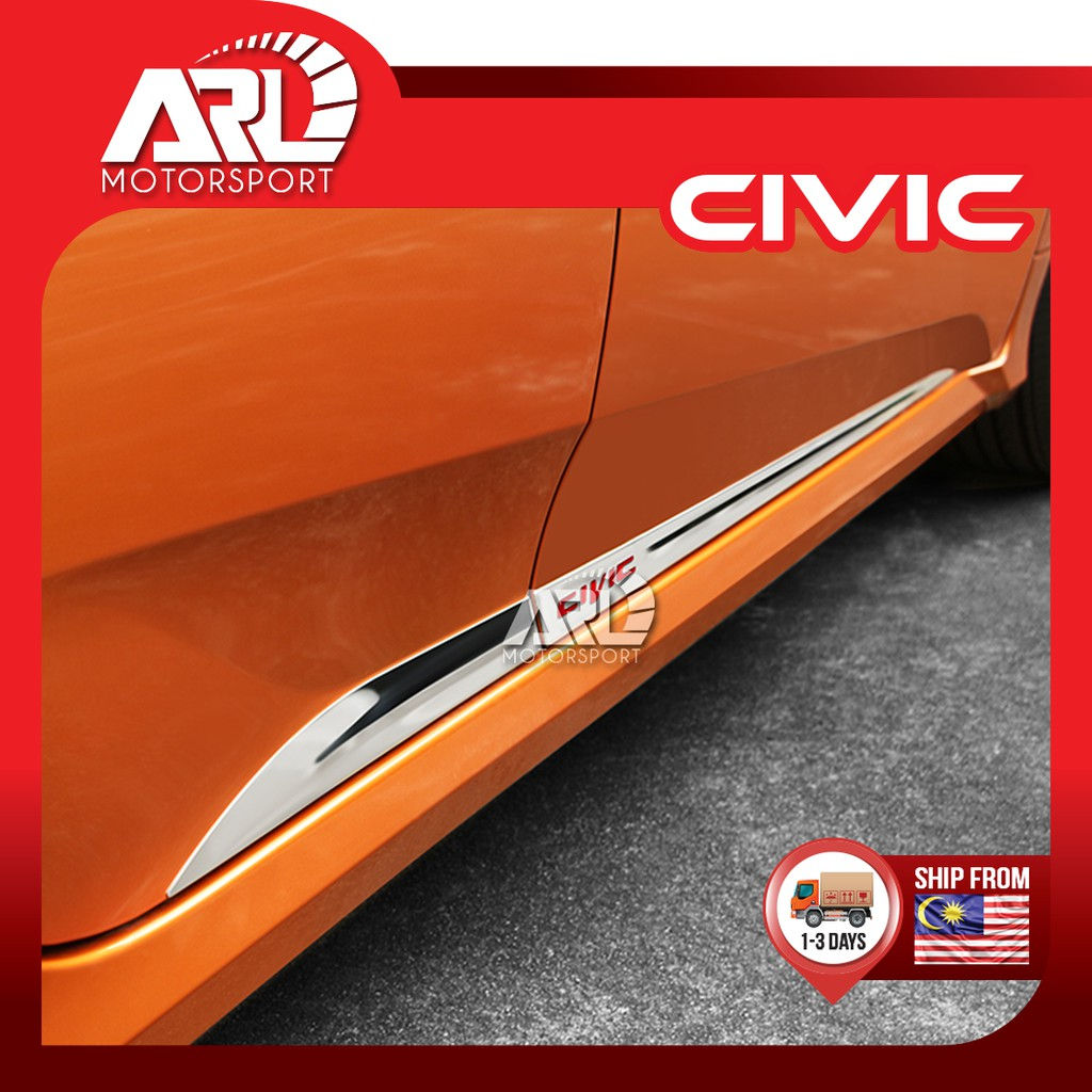 Honda Civic (2016-2020) Side Door Moulding Chrome With Logo Civic Car Auto Acccessories ARL Motorsport