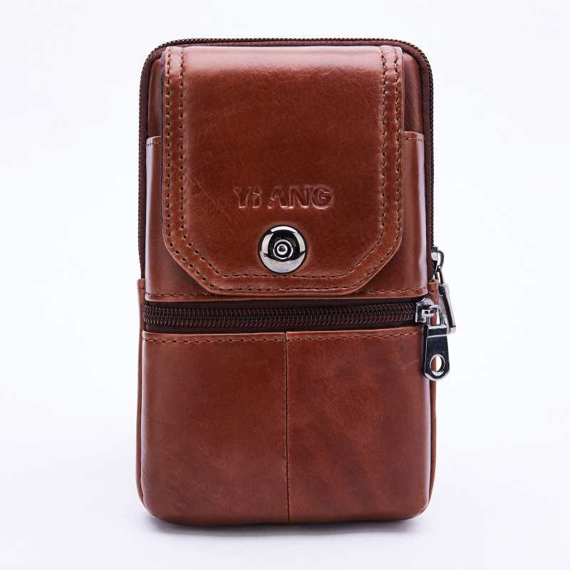 f8bf55f740b8 Yiang Genuine Leather Mini Shoulder Messenger Bag Men'S Waist Belt Pack Hip  Bum Purse