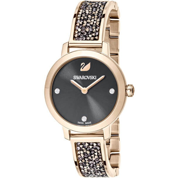 Cosmic Rock Watch, Metal Bracelet, Gray, Champagne Gold Tone