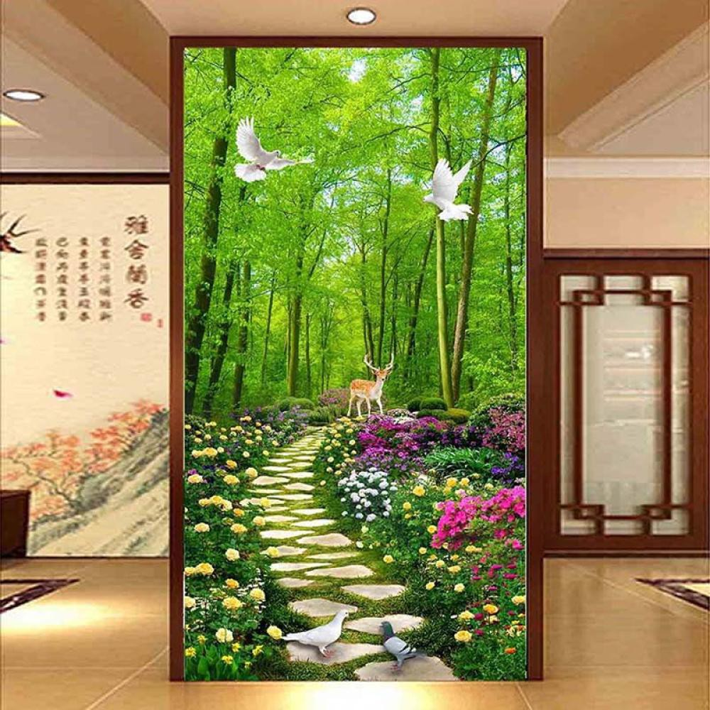 Wallpaper Forest Stone Road Floral Pastoral Scenery Entrance
