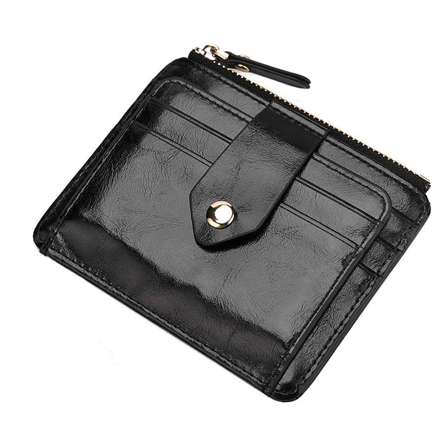 9b504d05f49d Soft PU Leather Men Women Cards Holder Zipper Credit Card Bag ...