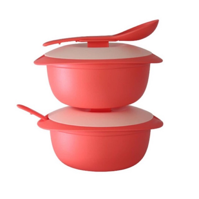 (Ready stock)Tupperware Coral Blooms Round Server With Serving spoon 1.6L 2 pcs