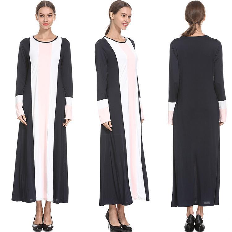 Ramadan Muslim Kebaya Arab National Wind Round Neck Color Dress