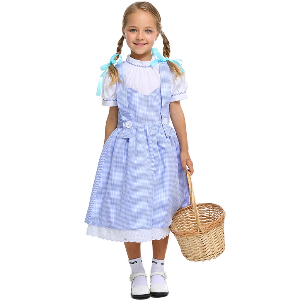 Girls Dorothy Fancy Dress Up Costume Wizard Of Oz Outfit Child Ages 4-9 yrs NEW