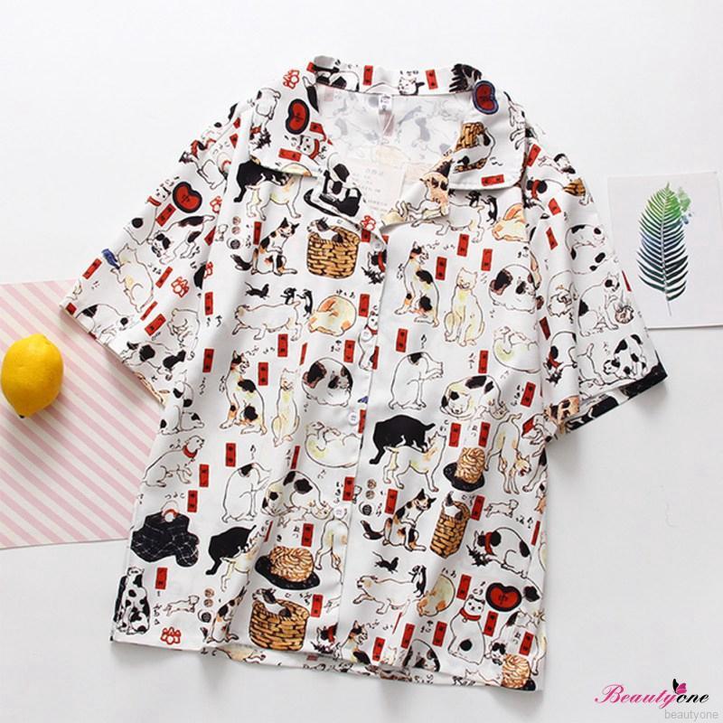 f121429df6462 Women Cartoon Cat Print Lapel Shirt Short Sleeve Blouse