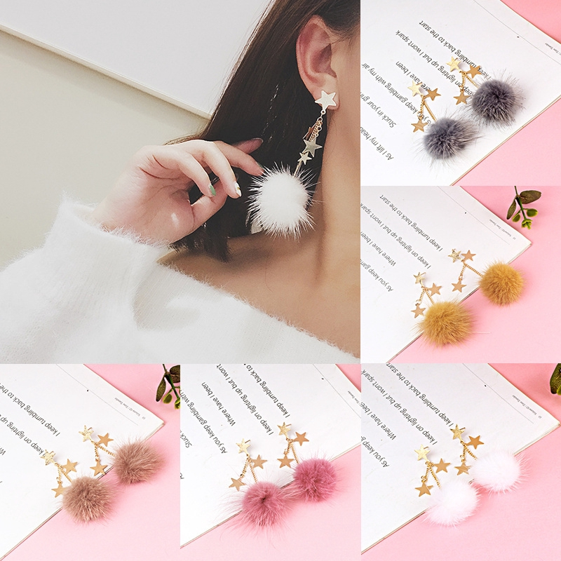 Women Long Chain Network Star Style Hair Balls Dangle Earrings Stars  Earrings