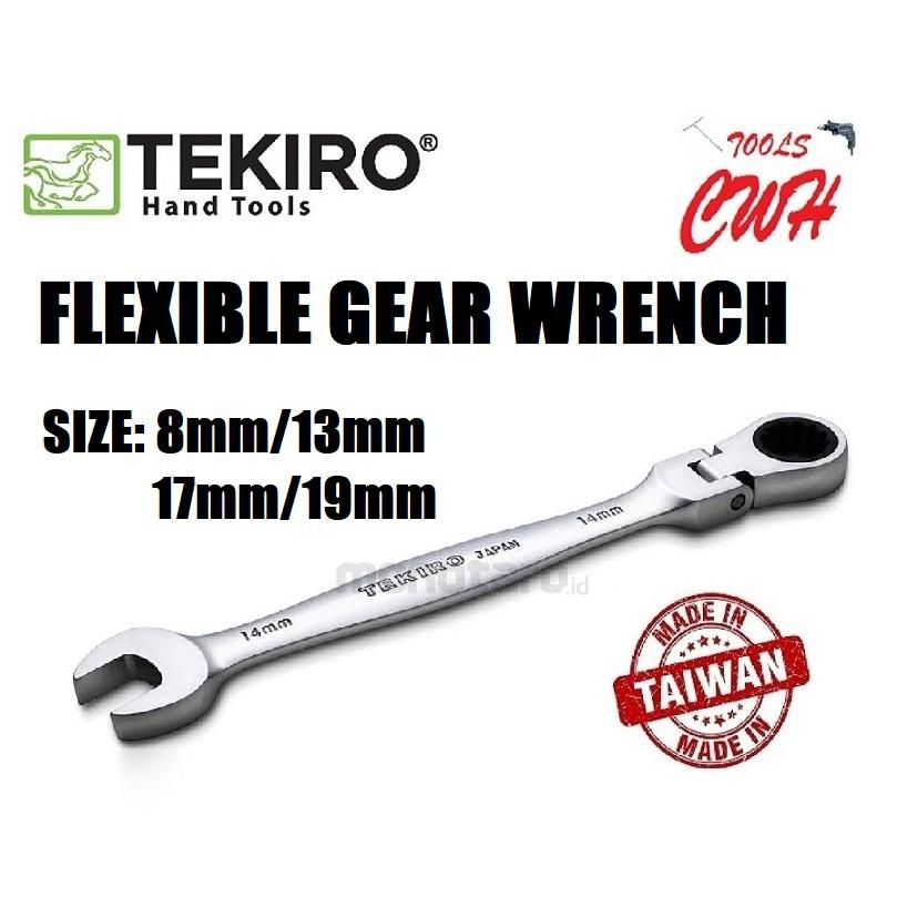 TEKIRO TAIWAN FLEXIBLE GEAR WRENCH 8MM 13MM 17MM 19MM TEKIRO MADE IN TAIWAN FLEXIBLE GEAR WRENCH