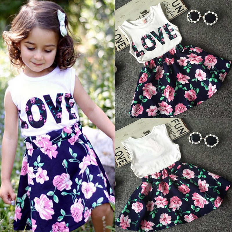 Clode for 1-6 Years Old Girls Fashion Toddler Kids Baby Girls Flower Print T-Shirt Tops and Short Pants 2PCS Summer Outfit Set