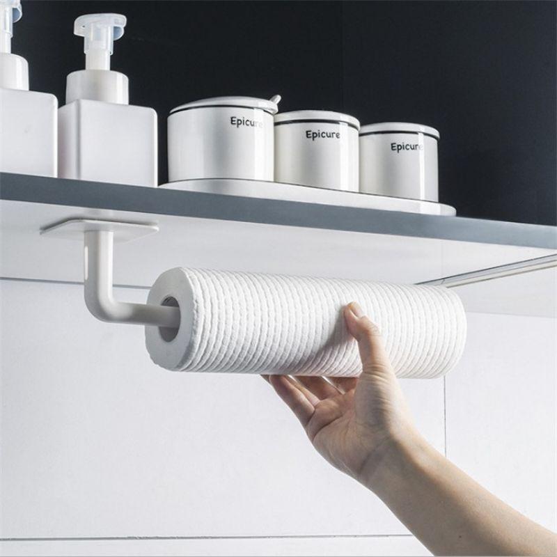 【Ready stock】多功能菜板架砧板架支架免打孔厨房卷纸架挂架保鲜膜置物架壁挂式