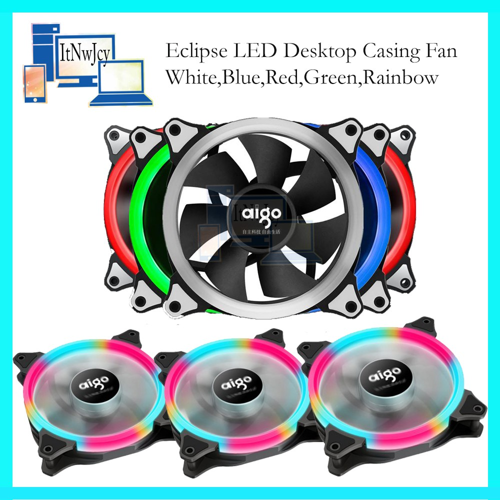 Aigo Eclipse 12cm Led Desktop Casing Fan With 1yr Warranty Shopee Malaysia