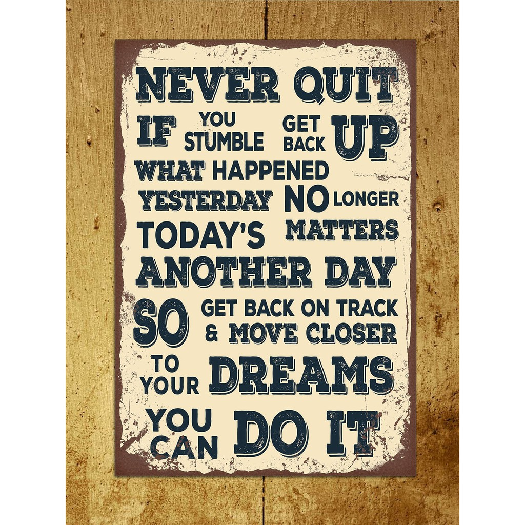 Vintage rustic Inspirational motivational 20cm Sq metal wall sign gift office