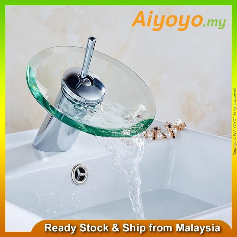 Waterfall Glass Mixer Bib Water Tap Faucet Bathroom Wash Basin Sink Bath Kitchen Lavatory Bathtub Swivel Hot Cold Brass