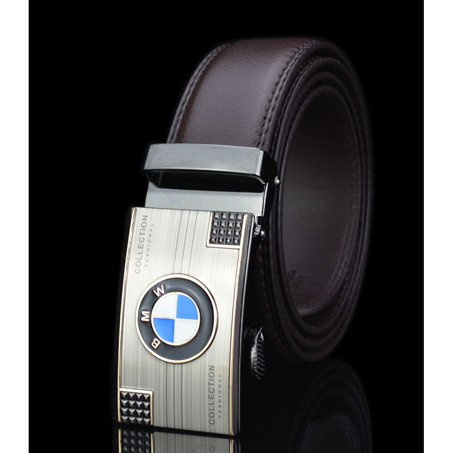 Genuine leather Gold Automatic Buckle Business Mens Waist Belt Waistband for BMW