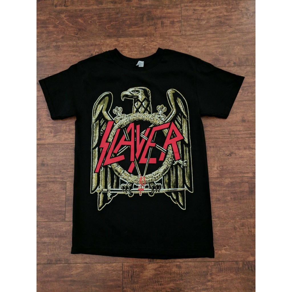 BRAND NEW SLAYER RED METAL BAND LOGO WITH GOLD EAGLE BLACK T SHIRT