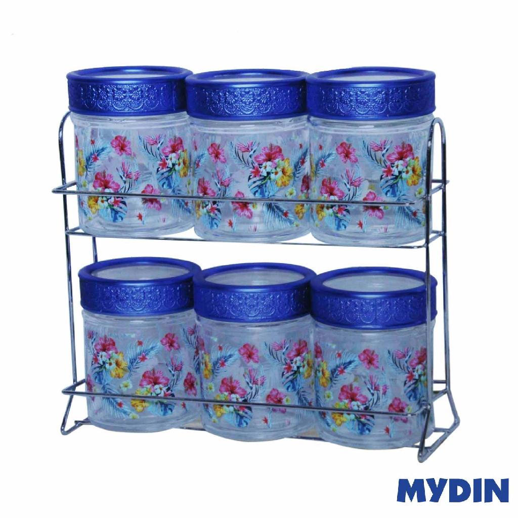 My Home Glass Canister Set - Blue (7 Pcs) M-7S-BG #Raya