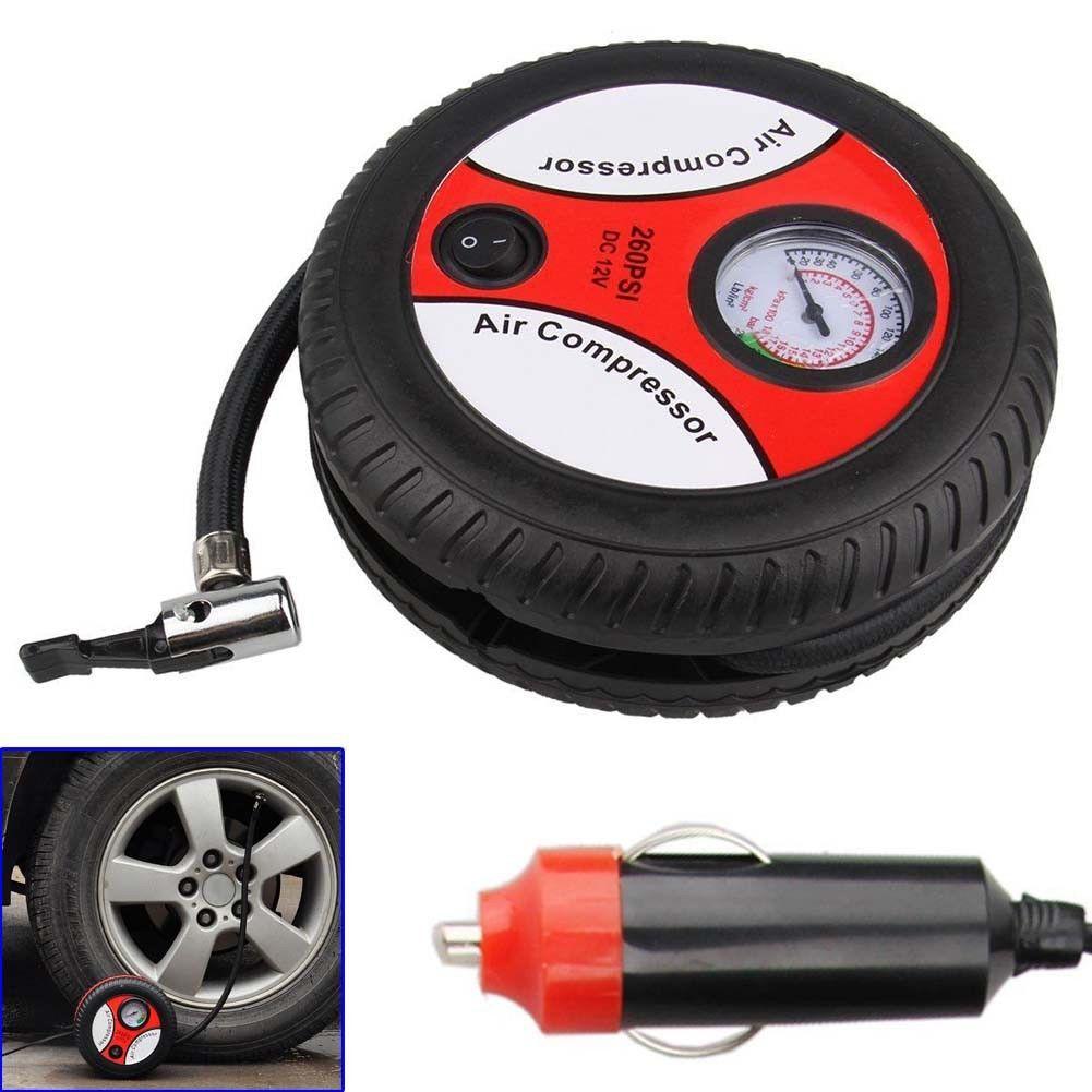 12V Car Tire Inflator Meter Electric Air Compressor Pump Nozzle Pressure Gauge