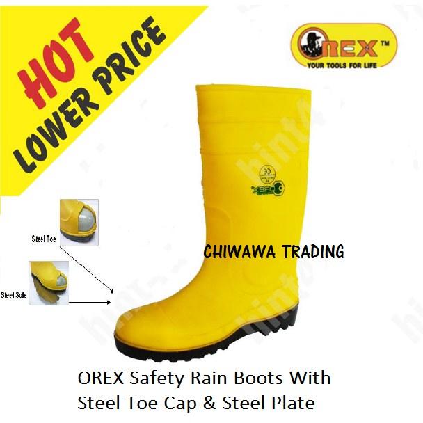 OREX YBS SAFETY RAIN BOOTS STEEL TOE CAP & PLATE Waterproof Anti-slip Kasut