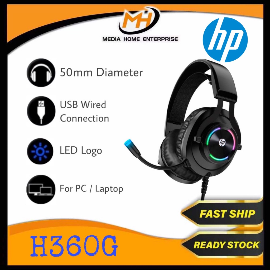 HP Gaming Wired Headset H360G - 50mm Speaker Size, Volume Control, LED Light, USB