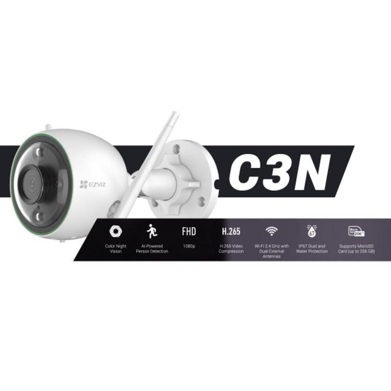 (NEW) EZVIZ C3N 1080P Color Night Vision, Wi-Fi Outdoor IP67 Waterproof