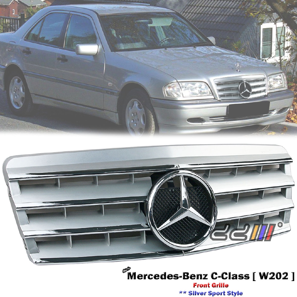 Mercedes C200 Sport: Front Silver Sport Grille For Mercedes Benz W202 C-Class