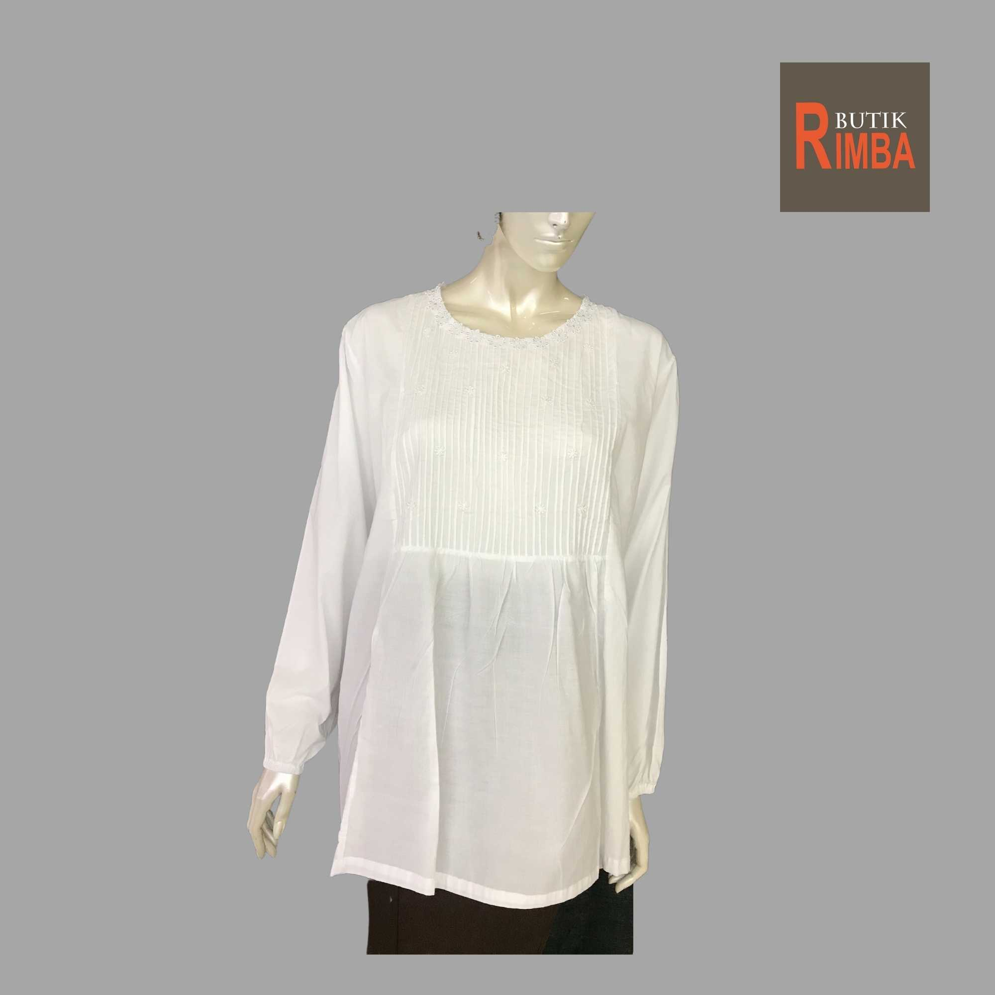 WOMEN CASUAL AND COMFORTABLE WHITE BLOUSE COTTON FREE SIZE PATTERN 05