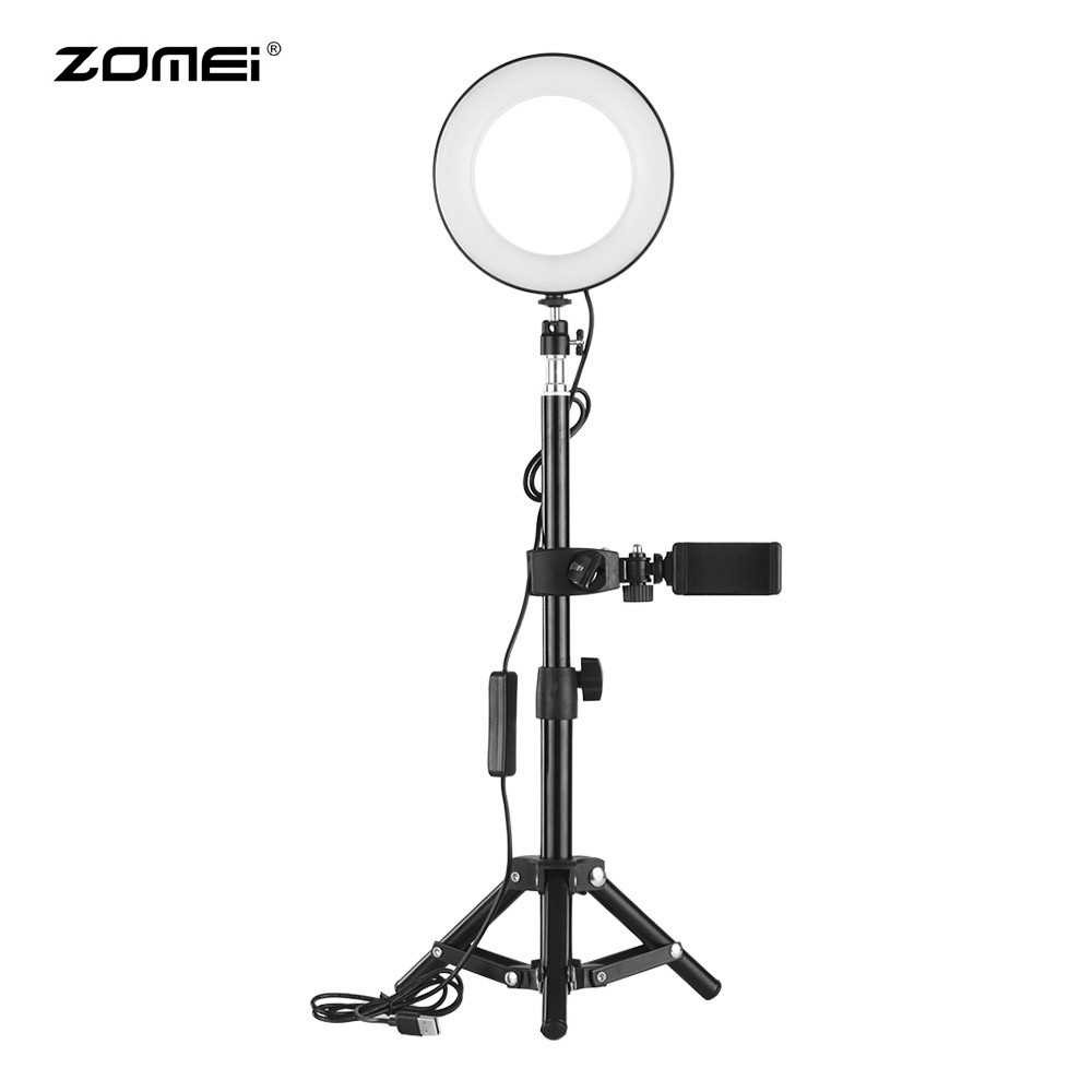ZOMEI 6 Inch Desktop Portable Selfie LED Ring Light 3000-6000K 3 Light Modes Dimmable Brightness with Tripod Stand Wire