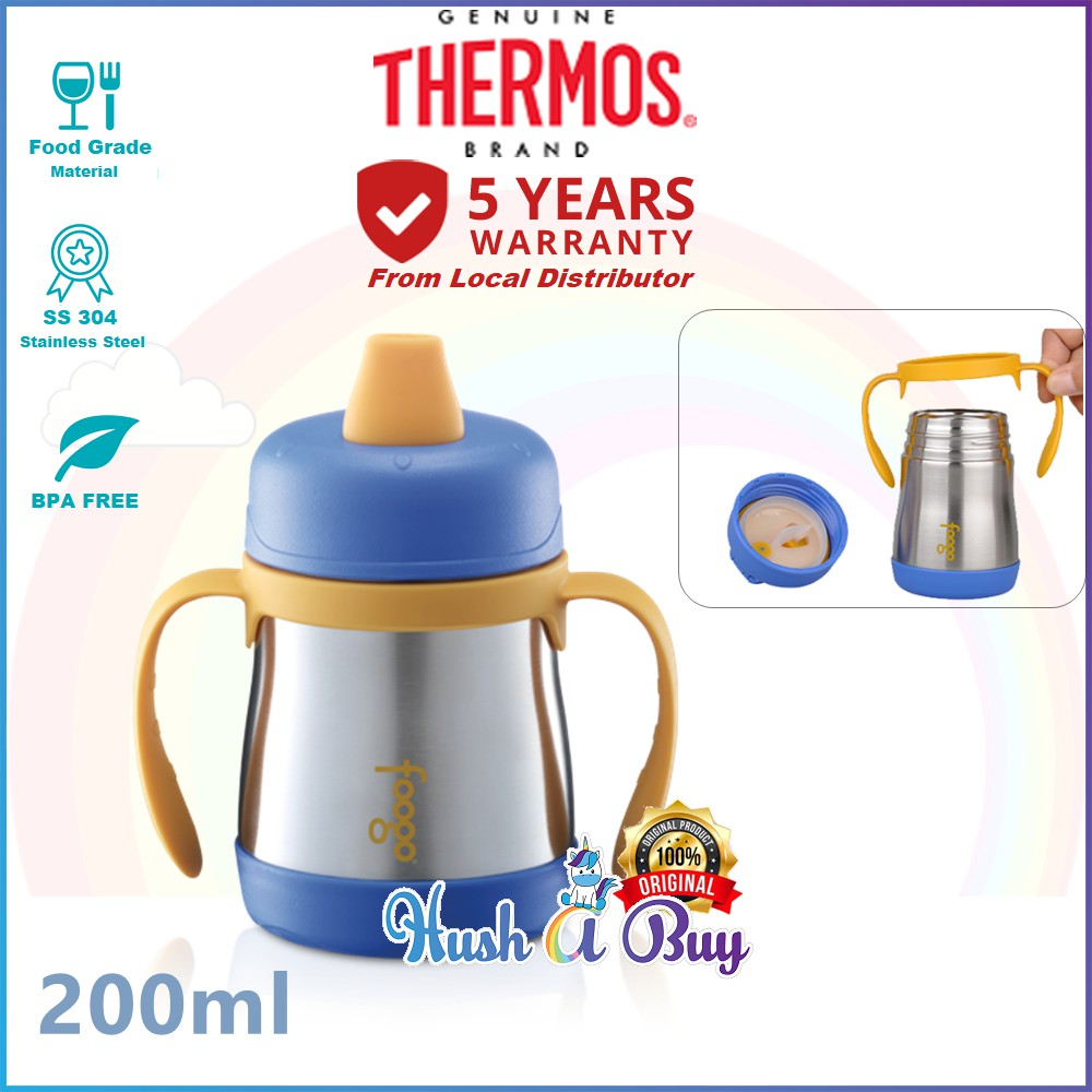 Pink 6 Months Thermos Foogo Leak-Proof SS 7 Ounce Sippy Cup with Handles